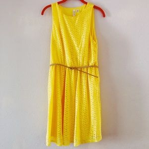 Yellow Tank Dress with Belt. Lightly lined.